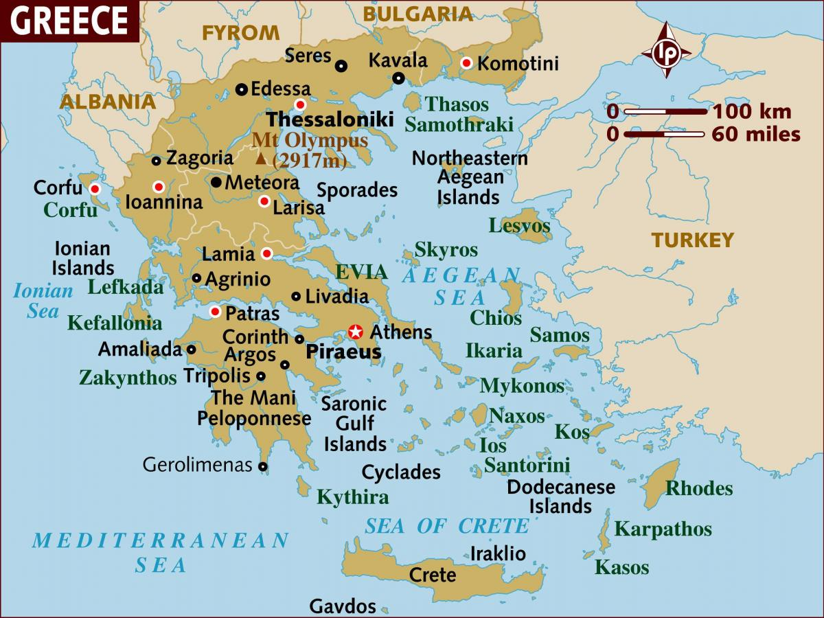 Athens on Greece map