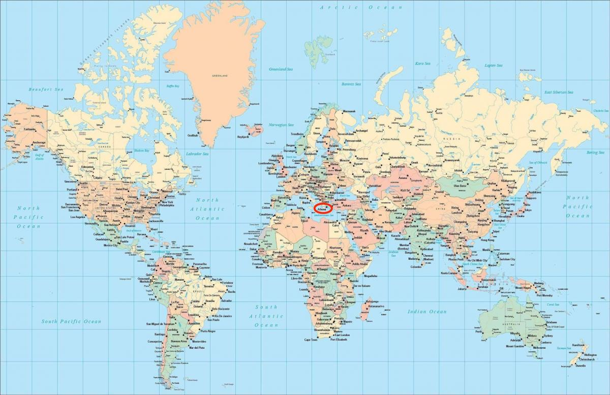 Athens location on world map