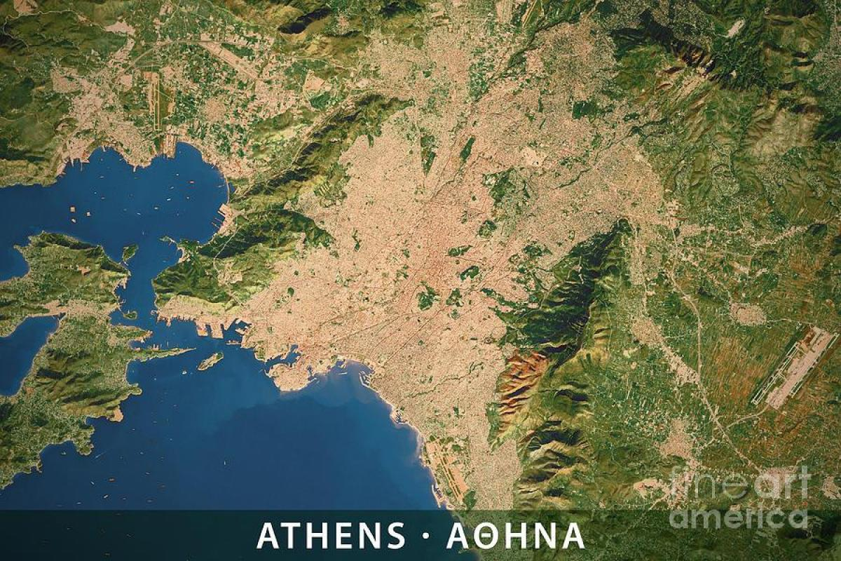 Athens elevation map